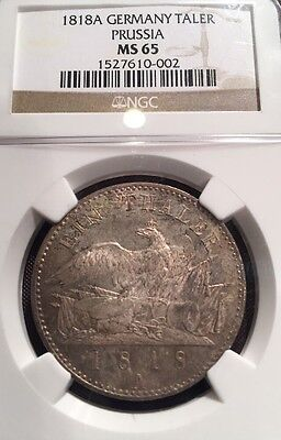 German States Prussia 1818 A Taler Coin Thaler NGC MS 65 F.Stg  Deutschland RARE