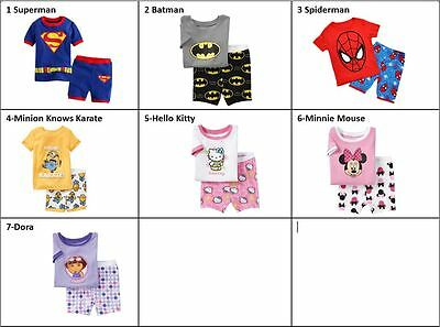 Kids Toddler Boys Girls Pajamas Set T-Shirts Shorts Pants Sleepwear Nightie 1-7T