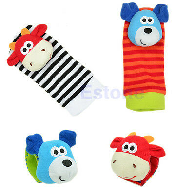 Cute Animal Baby Infant Kids Hand Wrist Bells Foot Sock Rattles Soft Toys New