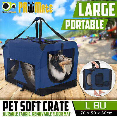 Pet Dog Soft Crate Portable Carrier Travel Cage Tent Kennel Folding L BU