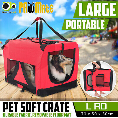 Pet Dog Soft Crate Portable Carrier Travel Cage Tent Kennel Folding L RD