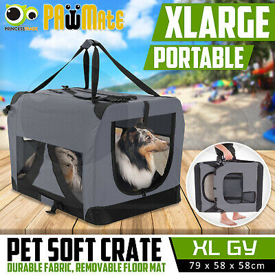Pet Dog Soft Crate Portable Carrier Travel Cage Tent Kennel Folding XL GY