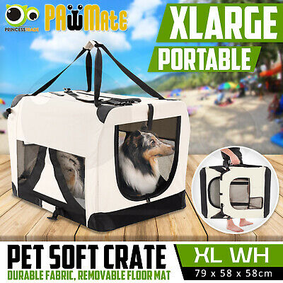 Pet Dog Soft Crate Portable Carrier Travel Cage Tent Kennel Folding XL WH