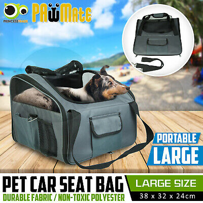 Pet Carrier Dog Cat Car Booster Seat Portable Belt Crate Cage Travel Bag Large