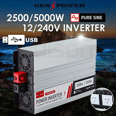 NEW Pure Sine Wave Power Inverter 2500W/5000W Max 12V-240V Camping Boat Sinewave
