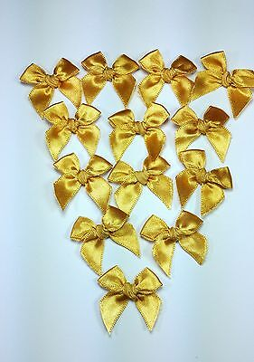 50 pc. Mini  Gold Satin Ribbon Craft Bows Trim wedding Doll Card Scrapbook Gift