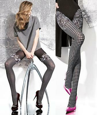 Fiore Tights 3D Highly Fashionable Patterned Mock Suspender Tights 40 Den