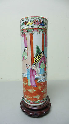 """NICE 19th C. ANTIQUE CHINESE EXPORT """"FAMILLE ROSE"""" CYLINDER VASE, c. 1850-1899"""