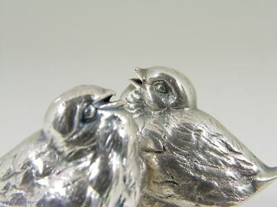 Lovely Solid Coin Silver Figural Pair Of Bird Salt Shakers