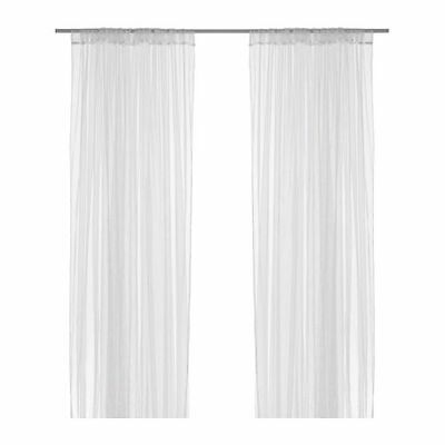 2 Pairs IKEA Long White Lace Net Sheer Curtains Brand New 280 X 250 cms Curtain