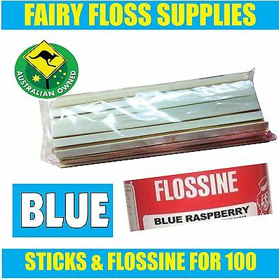 FAIRY FLOSS STICKS & BLUE FLOSSINE - 100 pack - Suit all machines -Top Quality