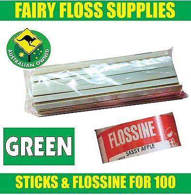FAIRY FLOSS STICKS & GREEN FLOSSINE - 100 pack - Suit all machines -Top Quality