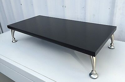TV Riser Stand Solid Oak Wood with Black Finish