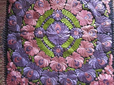 Multi-Color MATYO SILK EMBROIDERED TABLECLOTH Hungarian 1908 Museum-value