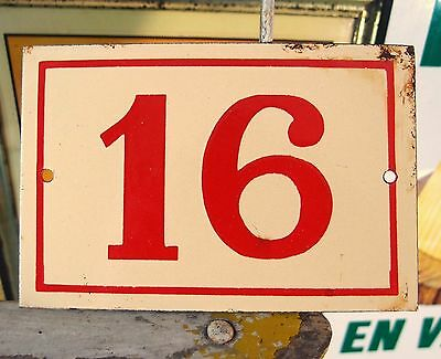 Vintage French Enamel Porcelain Door House Gate Number Sign Plate 16