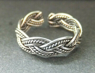 SOLID SILVER TOE RING, weave/plait design, 5mm *BN* good quality, sturdy ring