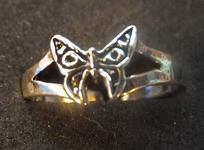 SOLID SILVER TOE RING, butterfly design *BN* good quality, sturdy toe ring
