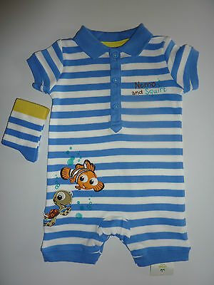 DISNEY Really Cute NEMO and SQUIRT Romper and Matching Socks NWT