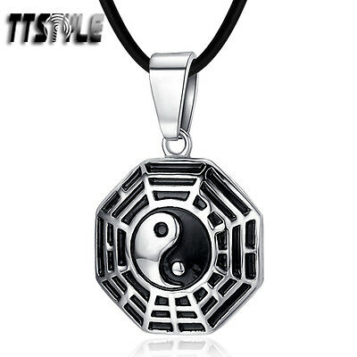 TTstyle Silver Stainless Steel Ying&Yang Pendant Necklace (NP292S)