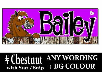 Chestnut white star HORSE PONY cartoon name Sign Plaque Stable door tack room