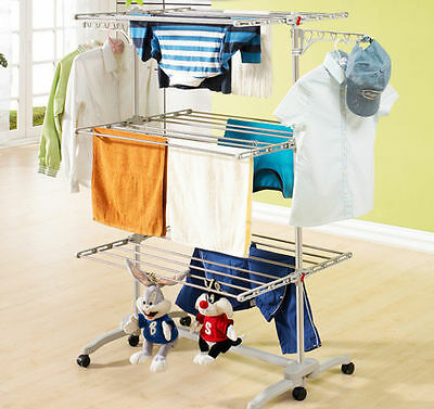 6 Tiers Clothes Airer Horse Dryer Stainless Laundry Rack Hanging Folding Hanger