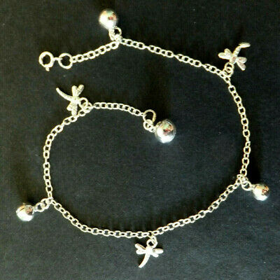 SOLID SILVER ANKLET / ANKLE CHAIN *BN* chain with dangly dragonfly *.925 silver*