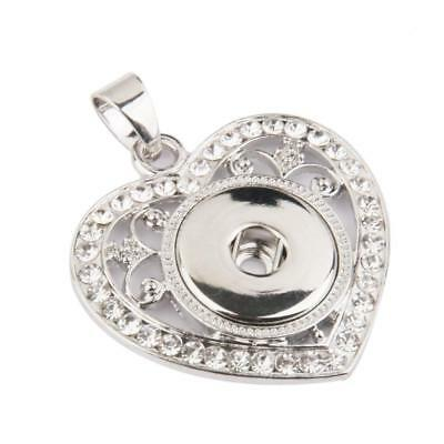 Charm Silver Rhinestone Heart Pendant Snap Button Necklace Jewelry DIY Craft