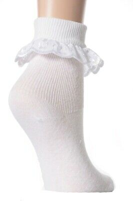6 Pairs Babies / Girls / Ladies White Lace Frilly Broderie Anglaise Ankle Socks