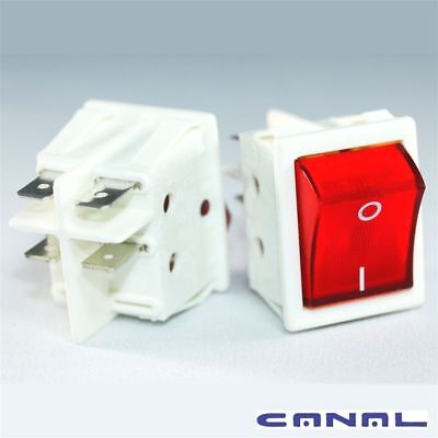 Canal R Series White Rocker Switch Illuminated Red Double Pole 20 A 16 A