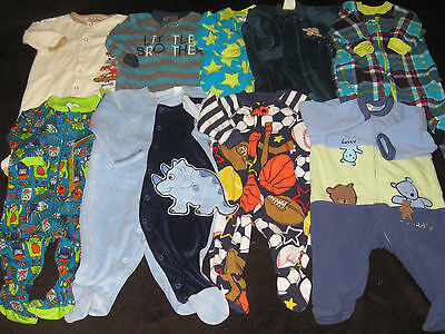 Baby Boy   3-6 Months Sleepers  Lot Fall Winter Heavy Weight  Clothes Lot B4