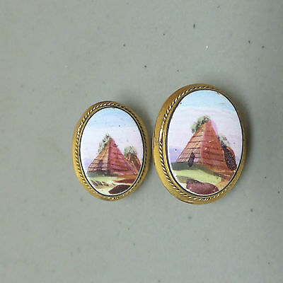 Rare Antique Screw-On Earrings Gold Filled Hand Painted Porcelain Pyramid Design