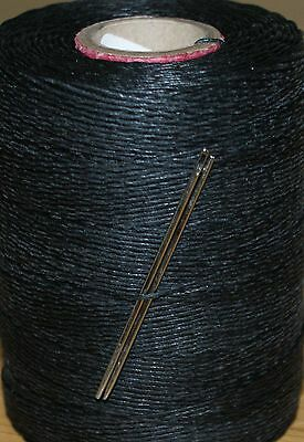 18/4 Waxed Linen Hand Sewing Thread For Leather/canvas & 2 Needles - Black