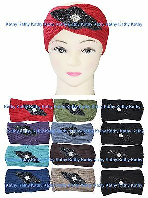 Wholesale 12 Flower Applique HEADWEAR Crochet Knit Headwrap Headband Ear Warmer
