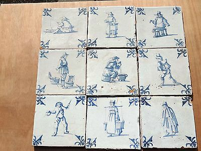9x Delft Blue Tiles People 17th century