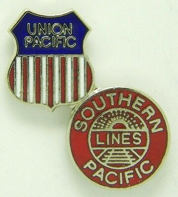 Railroad Hat-Lapel Pin/Tac-Union Pacific Southern Pacific Merger (UP) #1667-NEW