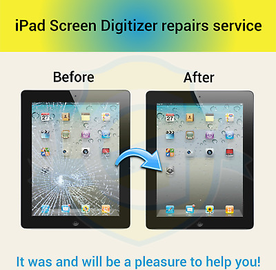 Apple iPad 2/3/4 Digitizer Screen Replacement Service White or Black !!!