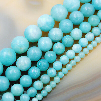 """Natural Amazonite Gemstone Round Spacer Loose Beads 15.5"""" 4mm 6mm 8mm 10mm 12mm"""