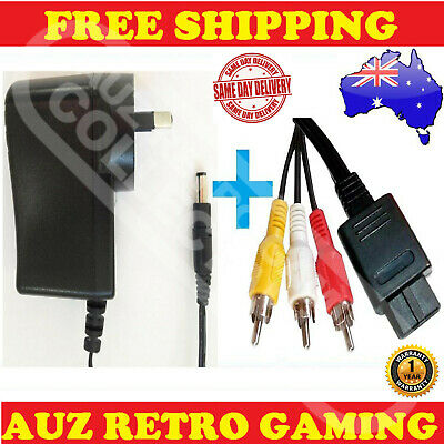 Power Supply Adapter Pack + PAL RCA AV TV Cable Cord For SNES Super Nintendo