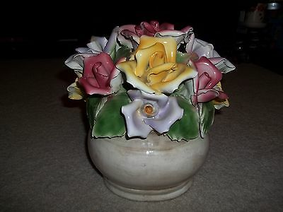 Vintage 1940,s Capodimonte Large Floral Centerpiece, Italy