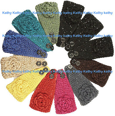 Wholesale 12PC HEADWEAR Crochet Sequin Rosette Knit Headwrap Headband Ear Warmer