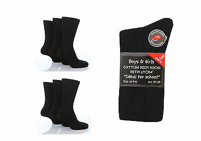 6 Pairs Boys / Girls Back to School Cotton Rich Ankle Socks Black various sizes