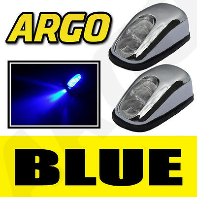 Chrome Blue Led Neon Light Front Windscreen Washer Jets Nozzle Spray Water Pair
