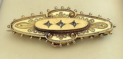 1899 Antique Victorian Chester 15ct  Gold Diamond Brooch With Locket  Back