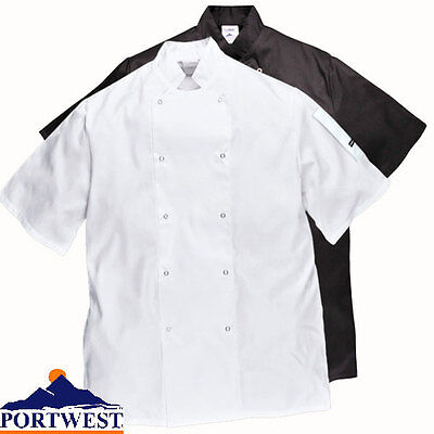 White Chefs Jacket Short Sleeve in Black too Restaurant & Catering Unisex C733