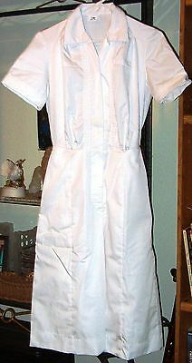 SALE -NEW Womens  Nurse  scrub  Dress / waitress uniform  size  6  White Cotton