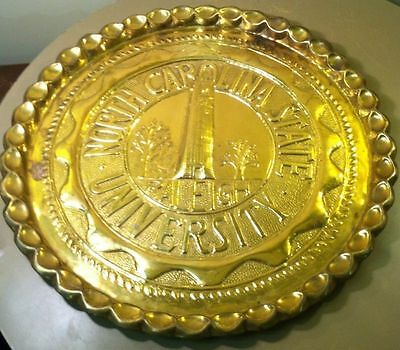 "VINTAGE LARGE 20"" HEAVY BRASS COPPER NC STATE TRAY PLATTER-Raleigh-Wolfpack-Rare"