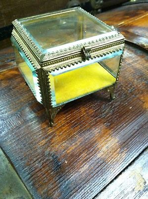 "Vintage French Antique Brass/Beveled Glass Trinket/Jewelry Box 3""x3""x3""-Ornate"