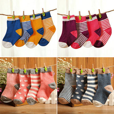 Lot of 4 Pairs Lovely Baby Newborn Infant Toddler Kids Cotton Socks 1-3 Years