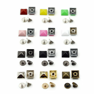 10/50/100pcs 10mm Alloy Rivets Spikes Studs + Metal Screw Punk Spot Leather DIY