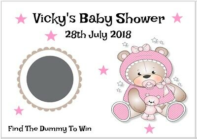 scratch off card//game//pink bear Christening Party 12 Personalised Baby Shower